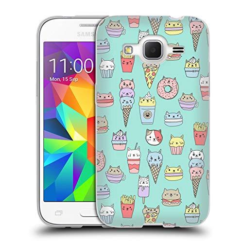 Officiële Andrea Lauren Design Kattenvoer Voedsel Patroon Soft Gel Case Compatibel voor Samsung Galaxy Core Prime