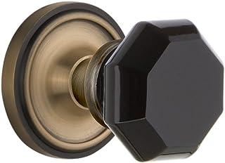 Nostalgic Warehouse 724125 Classic Rosette Privacy Waldorf Black Door Knob in Antique Brass, 2.375