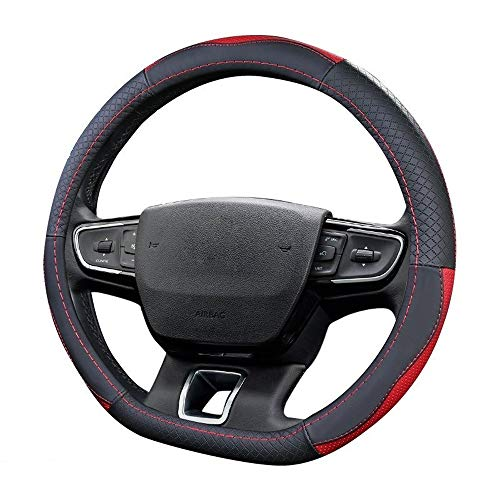 Auto Steering Wheel Cover Stuurwiel Covers for C-i-t-r-o-e-n C5 Aircross C2 C3 PICASSO C-Triomphe C too 4S DS DS 6 C4L DS6 C0 DS7 JFCUICAN (Color Name : Black with red)