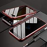 OURJOY iPhone SE ケース [第2世代] 2020 新型 覗見防止 両面ガラス iPhone8 ケース iPhone7 対応 360°全面保護 アイフォンSE 第2世代 アルミ バンパー ケース マグネット式 磁石 磁気接続 スマホケース 耐衝撃 アイフォン8 アイフォン7 ケース クリア (iPhone SE 2020 レッド)