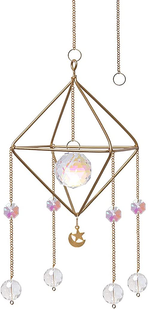 Handcrafted Suncatcher Gold Metal Stand Pendant Decoration Maker Crystal Bead Prism can be Used for Home, Garden, and Car Decor