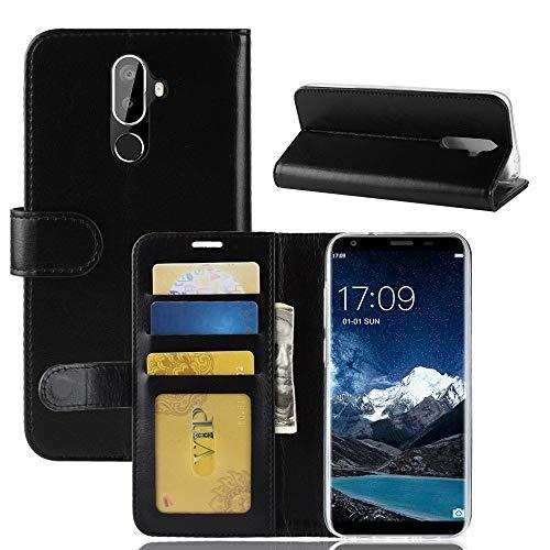 tinyue® Für Oukitel K5 Hülle, Ultradünne PU-Ledertasche Flip Wallet Cover, R64 strukturierte Business Style Ledertasche, Schwarz