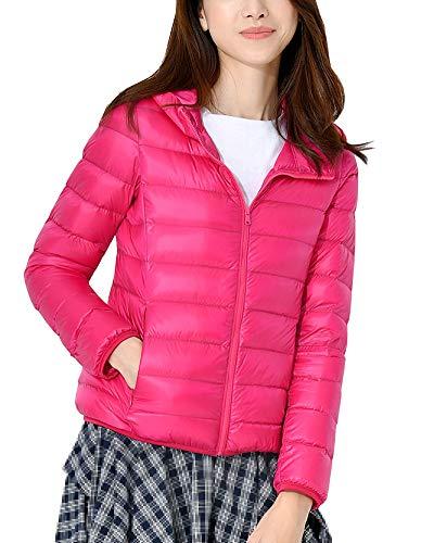 Daunenjacken Ultraleicht Damen Packbare Steppjacke Daunenmantel Winterjacke Übergangsjacke mit Kapuze Rose L