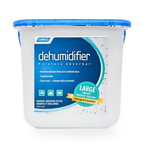 Camco 44282 Fragrance Free Moisture Absorber Bucket - Large Size, Absorbs Up to 3x Its Weight in Water, Reduces Moisture and Humidity in Offices, Closets, Bathrooms, Kitchens, Boats, RVs and More