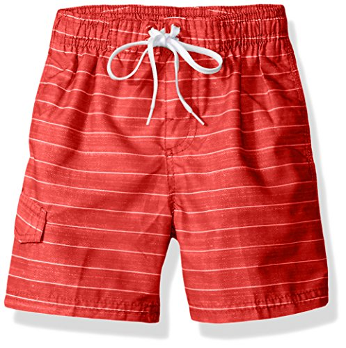 Kanu Surf Boys' Toddler Quick Dry UPF 50+ Beach Swim Trunk, Line Up Red, 4T