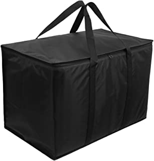 XXL Insulated Reusable Grocery Bags, Food Delivery Tote -Ideal for Uber Eats, Instacart, Doordash, Grubhub, Postmates, Restaurant, Catering, Grocery Transport   Dual Zipper