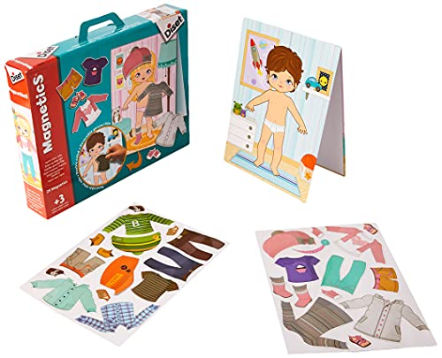 Diset Pizarra a doble cara y dos laminas con prendas magneticas para vestir niño o niña a partir de 3 años