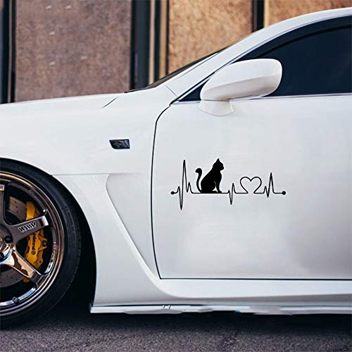 Auto Tattoo Aufkleber Gelb Lustige Cartoon Katze Auto Aufkleber Herzschlag Dekorative Decor Türspiegel Aufkleber Auto Aufkleber Für Auto Laptop Fenster Aufkleber