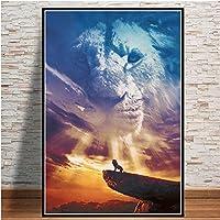 DIHEFAモダンライオンキングオンスカイキャンバスウォールアートプリント絵画家の装飾動物映画ポスター写真リビングルームの装飾 50x80cm-フレームなし