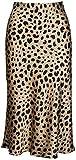 Soowalaoo High Waist Leopard Midi Skirt Hidden Elasticized Waistband Silk Satin Skirts (Leopard, L)