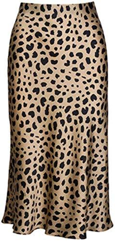 Soowalaoo High Waist Leopard Midi Skirt Hidden Elasticized Waistband Silk Satin Skirts (Leopard, M)