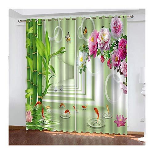 Knbob Polyester Gardinen Bunt Goldfisch Blume Kurzer Vorhang Küche Größe 214x183CM