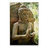 CALVENDO Premium Textil-Leinwand 60 cm x 90 cm hoch, EIN Motiv aus dem Kalender Buddha Statuen/CH-Version | Wandbild, Bild auf Keilrahmen, Fertigbild auf echter Leinwand, Leinwanddruck Glaube Glaube