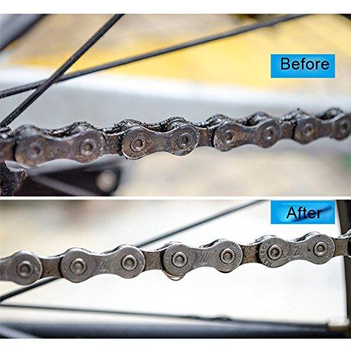 JTENG Fahrrad Kettenreinigungsgerät,Reinigung Scrubber Pinsel-Werkzeug im Set mit Ritzelbürste,2 Paar Latexhandschuhe,Schnelles sauberes Kettenreiniger Werkzeug Fahrrad Kettenreinigung - 2
