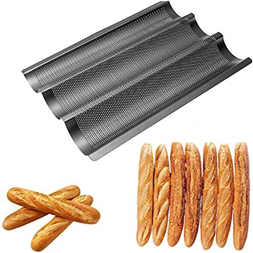 French Bread Pan, 2/3/4 French Baguette Bread Pan, The Best Non-stick Carbon Steel Alloy Baking Pan. (3 pieces) (black)