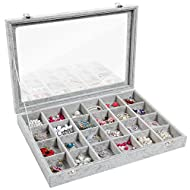 Valdler Clear Lid 24 Grid Jewelry Tray Showcase Display Storage