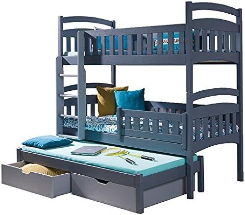 Etagenbett für DREI Kinder Stückbett mit Leiter und Bettkasten Schublade Bett Dominic 3 (Linke Seite,  )