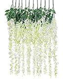 Artificial Silk Wisteria Vine Rattan Garland Fake Hanging Flower Wedding Party Home Garden Outdoor Ceremony Floral Decor,3.18 Feet, 6 Pieces (White-2)