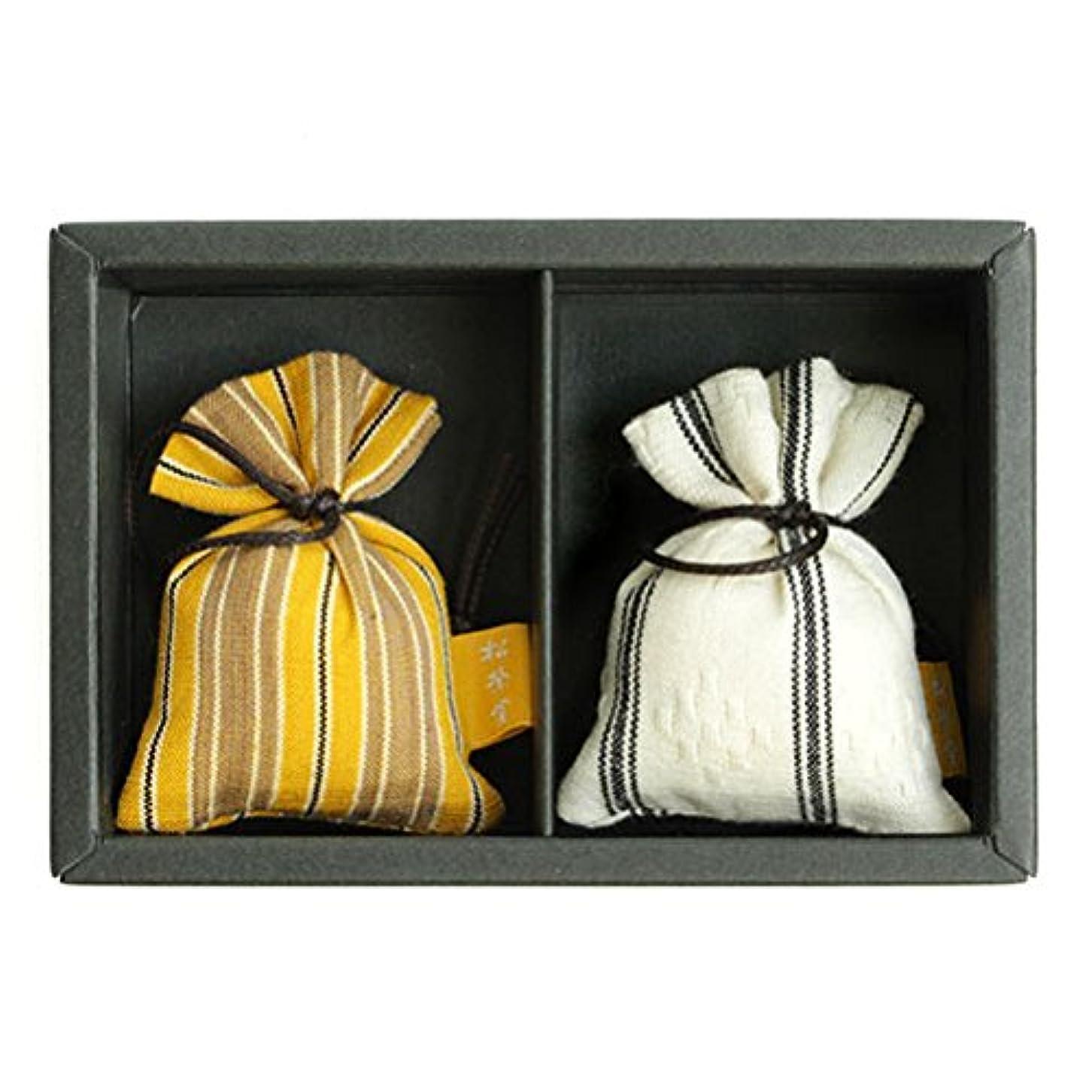 西部表向きスキム匂い袋 誰が袖 ルリック(縞) 2個入 松栄堂 Shoyeido 本体長さ60mm (色?柄は選べません)