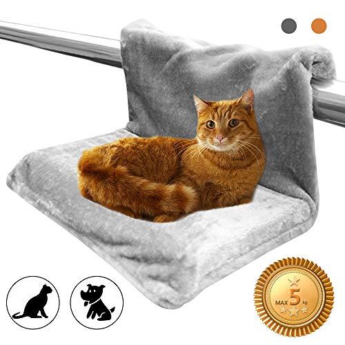 HINATAA Heizkörperbett für Katzen und Hunde, waschbar, robuster Metallrahmen, warm und bequem, max. Haustiergewicht bis 5 kg