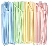 [500 Pack] Flexible Disposable Plastic Drinking Straws - 7.75' High - Assorted Colors Striped