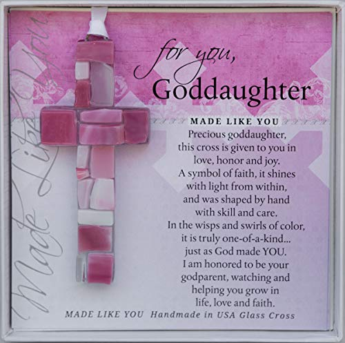 For You, Goddaughter Pink Mosaic Handmade Glass Cross
