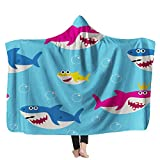 Fullentiart Baby Shark Hooded Blanket Kids Hooded Blanket Pattern Drawing Cute for Kids Blue Backgroundsuitable for Sofas Beds Travel 60X80Inches Kids Hooded Blanket Sleeper Shark Modern Throw Blanket