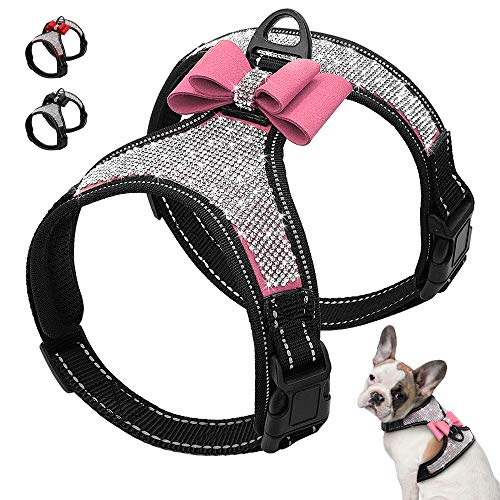 LONG-C Reflektierende Hundegeschirr Nylon Small Medium Dogs Geschirre Weste Strass Bowknot Hundezubehör Pet Supplies,Pink,S