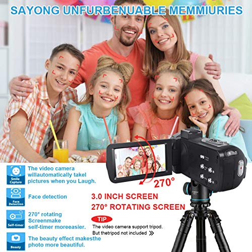 Video Camera Camcorder with LED Fill Light, 2020 Updated 1080p 30MP 30FPS FHD YouTube Vlogging Camera Recorder 18X Digital Zoom Support External Microphone with 2 Batteries Free HDMI Cable