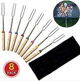 Benrise Marshmallow - Juego de 8 pinchos y tenedores de perro caliente, 32 pulgadas, accesorios para hoguera de patio, campamento, utensilios de cocina, accesorios para chimenea