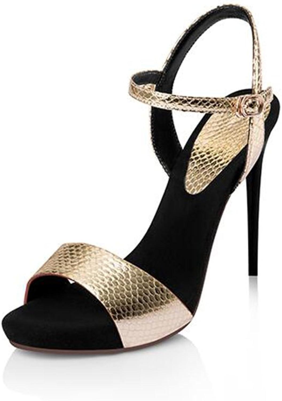 Sandalen CJC Hochhackige Offene Zehen High Heels Serpentine High Heels Heels Heels Dünne Fersen Sexy Damenschuhe (Farbe   Gold, Größe   EU38 UK5.5)  e3a415