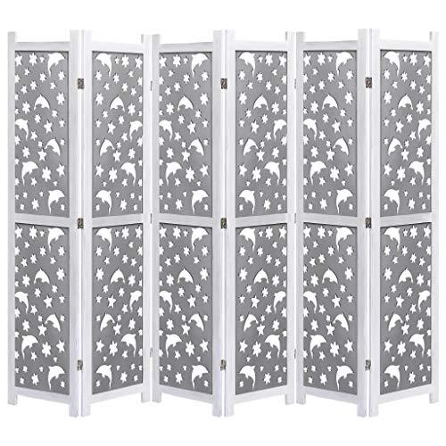 Festnight Biombo Divisor Biombos Decorativos Biombo de 6 Paneles de Madera Maciza con un Bonito Diseñado Ahuecado Gris 210x165 cm