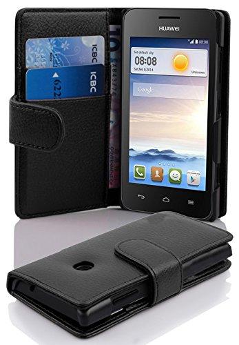 Cadorabo Hülle für Huawei Ascend Y330 in Oxid SCHWARZ – Handyhülle aus Strukturiertem Kunstleder mit Standfunktion & Kartenfach – Hülle Cover Schutzhülle Etui Tasche Book Klapp Style
