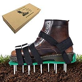 Exnemel Chaussures d'aérateur de pelouse, scarificateurs manuels de Jardin à Pointes de 50 mm de Long, Chaussures d…