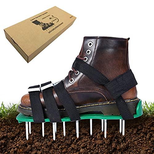 Zapatos de aireador de césped Exnemel, escarificadores manuales de jardín con púas de 50 mm de largo, zapatos de aireación de aireador de picos de césped de alta resistencia para jardín, patio