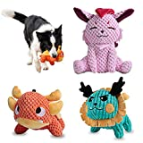 UNIWILAND Latest Squeaky Plush Dog Toys Pack for Puppy, 3 Pack Durable Stuffed Animal Plush Chew...