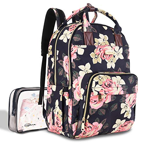 Diaper Bag Backpack, Large Capacity Baby Nappy Changing Bag Multi-Function Waterproof Travel Back Pack for Mom Dad, with Large Insulated Pocket and Independent Wet Cloth Bag