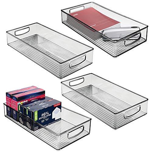 mDesign 4er-Set Aufbewahrungsbox mit integrierten Griffen – zur Aufbewahrung von Küchen-, Badezimmer- oder Büroutensilien – Kunststoffbox für die Schreibtischablage – grau