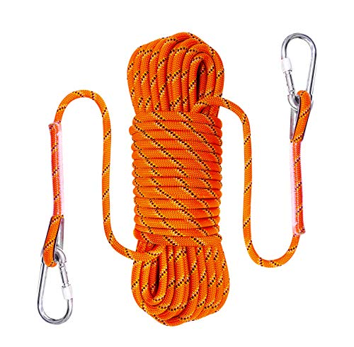 Ecofarwest 50FT, 10 mm(3/8in),Braided Static Rope for Outdoor Rock Climbing Escape Rope Ice Climbing Equipment Fire Rescue Parachute Climbing Swing Tree Mountain Hiking Fishing Rappelling Rope (50)