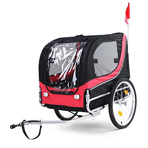 RAMROXX 37994 Fahrradanhänger Hundeanhänger klappbar für Haustiere Rot Schwarz bis 40Kg