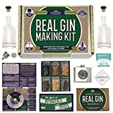 Real Homemade Gin Kit & Stainless Steel Personalized Flask, for Making Delicious Martinis, Gin and Tonics, Spirits & Cocktails at Home | Botanicals, Recipe Guides, Bottles & Labels & More