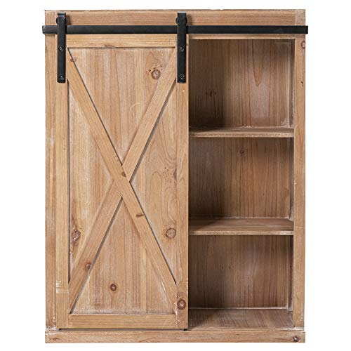 Hawoo Farmhouse Wood Wall Storage Cabinet with Sliding Barn Door,Accent Entryway Hutch Bar Cabinet for Kitchen,Laudry,Over Toilet for Bathroom, Rustic Brown Finish,28''H