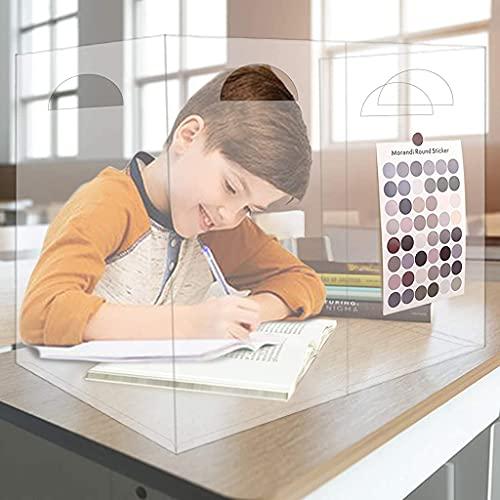 Portable Sneeze Guard Desk Shield, Plexiglass Shield Desk,Plexiglass Barrier Counter, Sneeze Guard Desk, Best Partition Protector for Classroom Office(24x24x12') (1Piece)