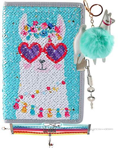 HH Family Unicorn Llama Girls Diary Writing Journal Notebook with Matching Bracelet and Fur Ball Key Chain (Llama F)