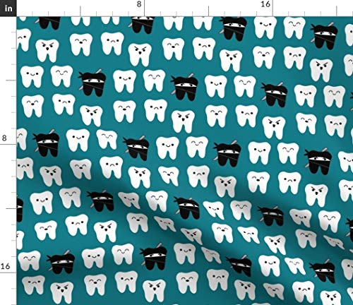 Spoonflower Fabric - Tooth Teal Teeth Dentist Dental Martial Arts Karate Printed on Petal Signature Cotton Fabric by The Yard - Sewing Quilting Apparel Crafts Decor
