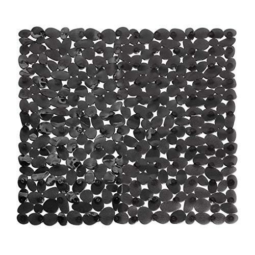 Domowin Duschmatte, Duscheinlage mit 169 Saugnäpfen rutschfeste Badematte Einlage für Duschkabine 53 x 53 cm (Schwarz-A)