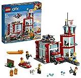 LEGO 60215 City La caserne de Pompiers, Jouet Garage avec Camion pour Enfants de 5 Ans et +, Jeu de Construction avec 4 Figurines