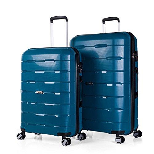 JASLEN - 67500 Juego Set 2 Maletas Trolley Grandes 60/70 cm Polipropileno PP. Rígidas, Resistentes y Ligeras. Mango telescópico, 2 Asas, 4 Ruedas Dobles. Candado Integrado TSA, Color Azul