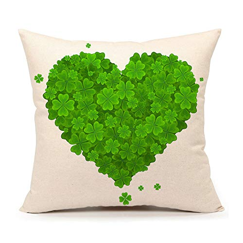 4TH Emotion St Patricks Day Pillow Cover 18x18 Inch for Sofa Couch Saint Patricks Throw Pillow Case Cushion Cover Cotton Linen Green Home Decor (Heart of The Lucky Clove)