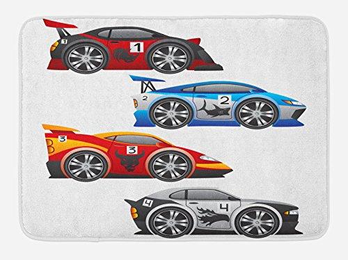 Ambesonne Cars Bath Mat, Group of Formula Race Cars Modern Mechanical Technology Automotive Championship, Plush Bathroom Decor Mat with Non Slip Backing, 29.5' X 17.5', Multicolor